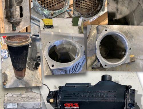Yanmar aftercooler blir restaurert, sveising av tære skader